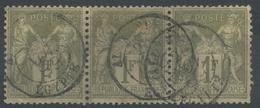 Lot N°48172  Bande De Trois N°82, Oblit Cachet à Date ETRANGER ALEXANDRIE (EGYPTE) Du 26 Novembre 1889 - 1876-1898 Sage (Type II)