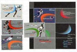KYRGYZSTAN Kirghizistan 2002, SKI, PATINAGE, BIATHLON, HOCKEY, SAUT A SKI, 4 Valeurs Et 1 Bloc, Neufs / Mint. R1765 - Invierno 2002: Salt Lake City