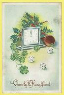 * Fantasie - Fantaisie - Fantasy * (3295/1) Dobbelsteen, Cube Dé, Dice, Bonne Année, New Year, Clock, Horloge, Treffle - Nouvel An