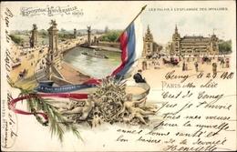 Lithographie Paris, Exposition Universelle 1900, Les Palais à L'Esplanade Des Invalides, Le Pont Alexandre - France