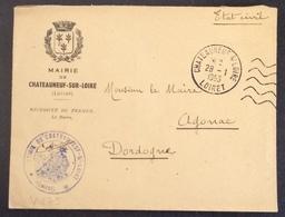 V175 Mairie Chateauneuf Sur Loire Loiret 28/1/1953 - Civil Frank Covers