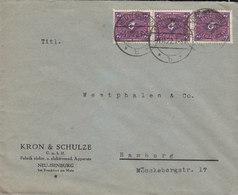 Germany Deutsches Reich KRON & SCHULZE Fabrik Elektromed. Apparate NEU-ISENBURG 1922 Cover Brief 3-Stripe 2M Posthorn - Briefe U. Dokumente