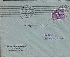 Germany Deutsches Reich DEVRIESWERKE, TMS Cds. HAMBURG 1922 Cover Brief 2M Deutsche Gewerbeschau Stamp - Briefe U. Dokumente