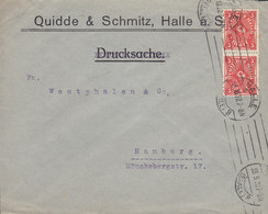 Germany Deutsches Reich QUIDDE & SCHMITZ, TMS Cds. HALLE A. SAALE 1922 Cover Brief 2x 3M Posthorn Stamps - Briefe U. Dokumente