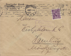 Germany Deutsches Reich DEUTSCHE BANK Filiale Hamburg TMS Cds. HAMBURG 1922 Cover Brief 2M Posthorn Stamp - Briefe U. Dokumente