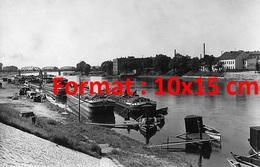 Reproduction D'une Photographie Ancienne De Péniches Sur Le Rhin En 1930 - Reproductions