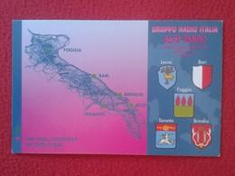 POSTAL TYPE POST CARD QSL RADIOAFICIONADOS RADIO AMATEUR GRUPPO ITALIA ALFA TANGO PUGLIA LECCE BARI FOGGIA BRINDISI..... - Tarjetas QSL