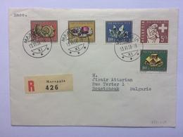 SWITZERLAND 1958 Cover Tied With Pro Patria 1958 Set Registered Maroggia To Roustchouk Bulgaria - Switzerland
