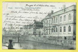 * Brugge - Bruges (West Vlaanderen) * (L.L.B., Nr 32) Quai Du Roi, école Moyenne Des Filles, School, Pont, Bridge - Brugge