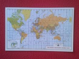 POSTAL TYPE POST CARD QSL RADIOAFICIONADOS RADIO AMATEUR WORLD MAP MAPA DEL MUNDO MUNDIAL MUNDI AZIMUTHAL VER FOTOS Y DE - Tarjetas QSL