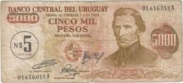 Uruguay 5 Nuevos Pesos 1975 Pk 57 Sobre 5000 Pesos No Emitido Ref 4 - Uruguay