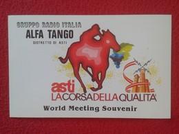 POSTAL TYPE POST CARD QSL RADIOAFICIONADOS RADIO AMATEUR GRUPPO ALFA TANGO ITALIA ASTI PIEMONTE HÍPICA HIPPIQUE HORSES - Tarjetas QSL