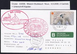 "ARCTIC, NORGE, Longyearbyen 2008,M/S""LANCE"" ,Mission"" 3/08 NORD"",2 Cachets + Signed !! Look Scan !! 1.2-16 - Non Classés"