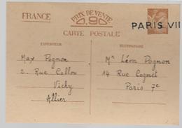 12 Mai 1941 Nouveau Entier Postal IRIS  Avec Marque PARIS VII   De  VICHY  Vers PARIS  Voir 2 Scans - Entiers Postaux