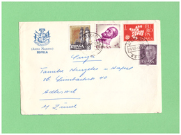 1961 ESPANA AIR MAIL COUVERT WITH 4 DIV. STAMPS TO SWISS - 1931-Hoy: 2ª República - ... Juan Carlos I