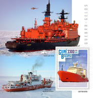 GUINEA BISSAU 2019 - Icebreakers, Helicopter S/S. Official Issue - Helikopters