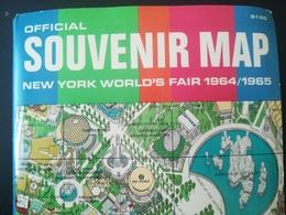 OFFICIAL SOUVENIR MAP NEW YORK WORLD'S FAIR 1964 / 1965 VIEUX PLAN EXPOSITION AMÉRIQUE DU Nord VIEUX PAPIERS CARTES - Planches & Plans Techniques