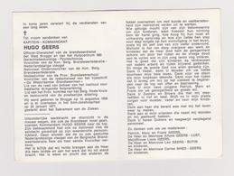 DOODSPRENTJE HUGO GEERS BRUGGE (1936 - 1977) BRANDWEER Met FOTO - Images Religieuses