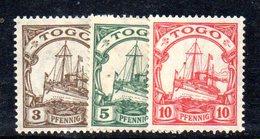 APR503 - TOGO 1909 , Tre Valori  Nuovi  * Filigrana Losanghe   (2380A). - Colonia: Togo