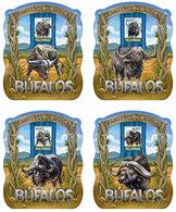 MOZAMBIQUE 2015 - Buffalos. OFFICIAL Deluxe Sheets - Fouten Op Zegels