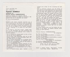 DOODSPRENTJE DOBBELS RAPHAEL ECHTGENOOT VANDEKERCKHOVE OOIGEM IZEGEM (1926 - 1991) BRANDWEER Met FOTO - Images Religieuses