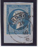 "FRANCE : N°14 .OBL . CAD SARDE . "" THONON "" . (89) . TB . SIGNE BOLAFFI .SUR FGT . 1860 . - Marcophily (detached Stamps)"