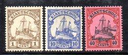 APR509 - KIAUTSCHOU 1905 ,  Tre Valori Nuovi * Filigrana Losanghe  (2380A). - Colonia: Kiautchou