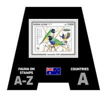 SIERRA LEONE 2019 - Fauna, Australia: Finch. Official Issue. - Zangvogels