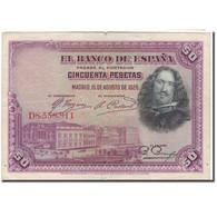 Billet, Espagne, 50 Pesetas, 1928-08-15, KM:75b, TTB - [ 1] …-1931 : Premiers Billets (Banco De España)