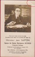 Jean Sarton Lecocq Prisonnier Politique Gesves WW2 WWII World War 2 Charleroi Doodsprentje Bidprentje Image Mortuaire - Images Religieuses