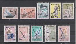COREA  DEL  SUD:  1963  STRUMENTI  MUSICALI  -  S. CPL. 10  VAL. N. -  YV/TELL. 320/29 - Corea Del Sud