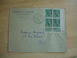 Bloc De 4 Coin Date 28.9.39 Mercure 25 C Obliteration Lettre Poissons - Marcophilie (Lettres)