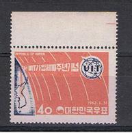 COREA  DEL  SUD:  1962  U. I. T. -  40 W. ROSSO  CHIARO  E  OLTREMARE  N. -  YV/TELL. 265 - Corea Del Sud