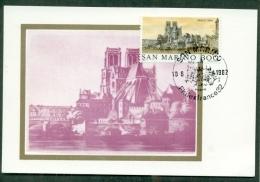 CM-Carte Maximum Card # 1982-San Marino #  Sites & Monuments # Architecture # Veduta, Cathedral  Notre Dame ,Paris - Sin Clasificación