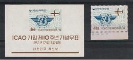 COREA  DEL  SUD:  1962  I.C.A.O.  -  4 W. POLICROMO  +  BL/FGL.  N. -  YV/TELL. 288 + 58 - Corea Del Sud
