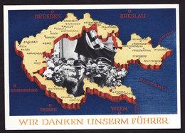 Deutsches Reich Propaganda Karte WIR DANKEM UNSEREM FÜHRER Karlsbad 1 4.12.1938 Befreites Sudetenland - Briefe U. Dokumente