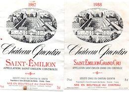 Lot 2 étiquettes Château QUENTIN 1987 St Emilion Et 1988 St Emilion Grand Cru  SC Château Quentin St Christophe Des B 33 - Bordeaux