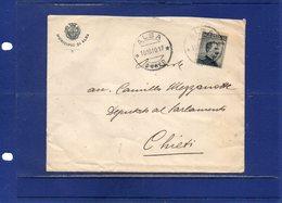 ##(DAN195)-1910-Busta Intestata Municipio Di Alba Da  Alba Per Chieti - Marcophilie