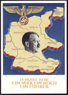 Deutsches Reich Propaganda Karte EIN VOLK EIN REICH EIN FÜHRER Gelaufen Berlin 10:4:1938 - Briefe U. Dokumente