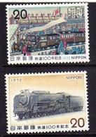 JAPAN NIPPON GIAPPONE JAPON 1972 JAPANESE RAILROAD SYSTEM CENTENARY LOCOMOTIVE COMPLETE SET SERIE COMPLETA MNH - Nuovi