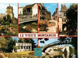 CPM, (45) Le Vieux MONTARGIS, Multivues, Chateau, Quartier Pecherie, Vieux Porche, écrite, Timbrée - Montargis