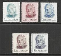 MONACO , Lot De 5 Timbres , Effigie De S.A.S. Rainier III , 1989 , Du N° YT 1671 Au 1675 , NEUF ** - Monaco