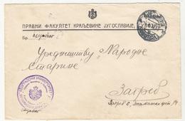 Pravni Fakultet Kraljevine Jugoslavije Subotica Official Letter Cover Travelled 1934 To Zagreb B190420 - 1931-1941 Royaume De Yougoslavie