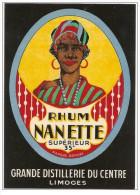 RHUM NANETTE SUPERIEUR  étiquette - Superbe Litho Chromo - Rhum