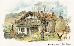 PAYS BASQUE - Maison Typique Du Pays Basque Par Robert Lepine - Vierge - Tbe - Autres Illustrateurs