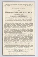 DOODSPRENTJE OORLOGSSLACHTOFFER DEKEYSER VLASSEMAN ° NIEUWPOORT 1869 +TIJDENS DE BESCHIETING VAN NIEUWPOORT 29 MEI 1940 - Images Religieuses