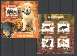 VV306 2014 GUINE GUINEA-BISSAU FAUNA PETS DOGS OF WORLD CAES DO MUNDO KB+BL MNH - Chiens