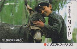 Télécarte Japon / 110-26838 A - ANIMAL - ANE & Enfant Du Maroc - DONKEY Japan Phonecard - ESEL - ASINO - BURRO -  23 - Chevaux
