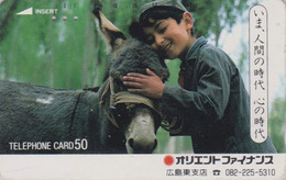 Télécarte Japon / 110-26838 B - ANIMAL - ANE & Enfant Du Maroc - DONKEY Japan Phonecard - ESEL -  ASINO - BURRO - 24 - Chevaux