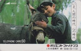 Télécarte Japon / 110-26838 C - ANIMAL - ANE & Enfant Du Maroc - DONKEY Japan Phonecard - ESEL - ASINO - BURRO -  25 - Chevaux